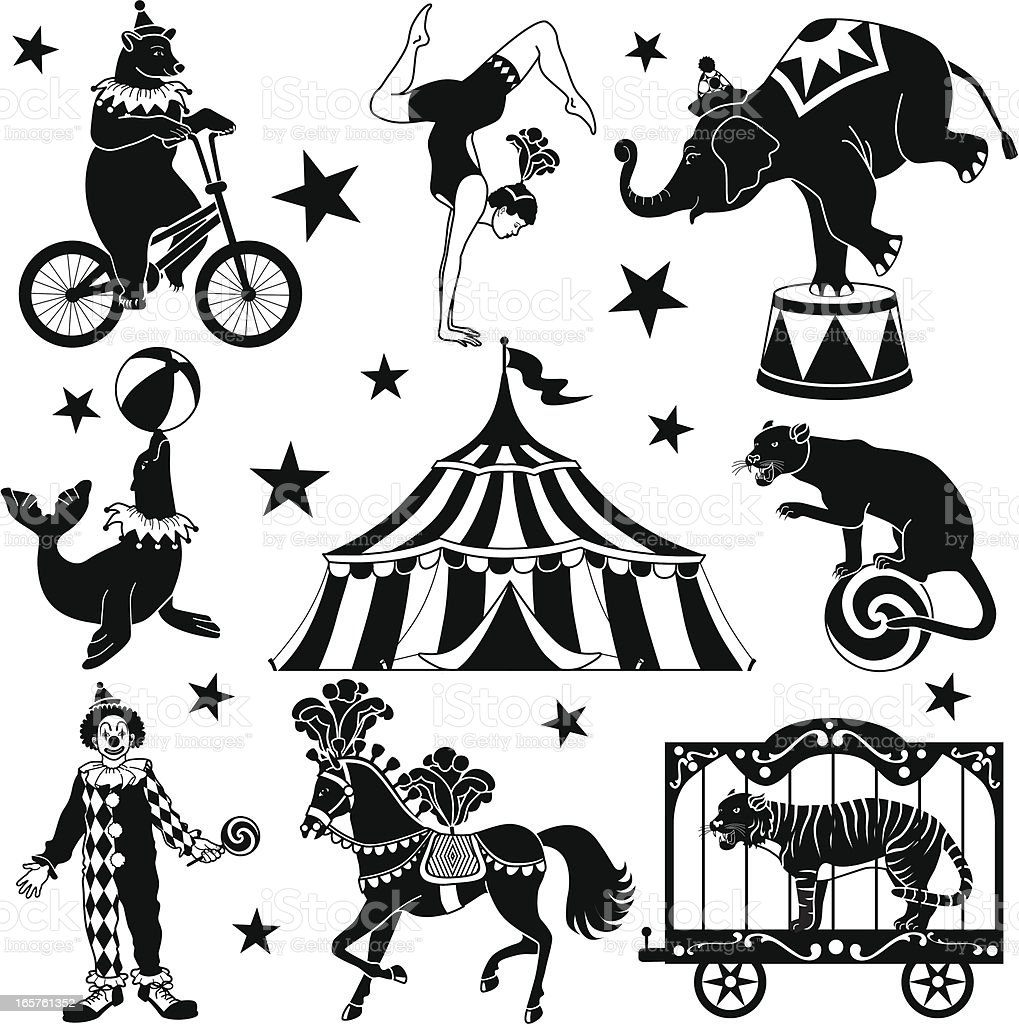 circus characters vector art illustration