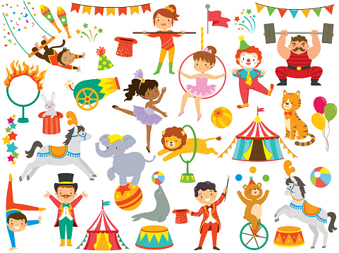 Circus clipart set with many circus items