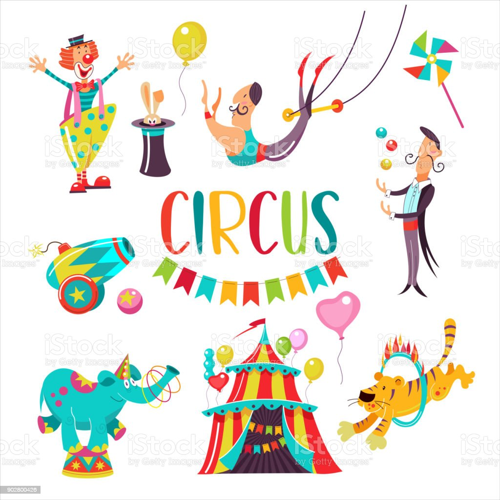 Vector Illustration Of Cute And Colorful Circus Animals. Royalty Free  Cliparts, Vectors, And Stock Illustration. Image 79568106.