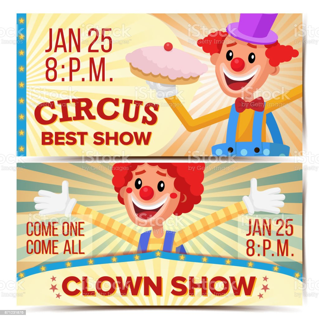 circus clown horizontal banners template vector great circus show