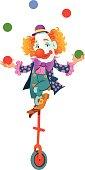 Circus Clown On Monowheel Juggling Colorful Balls