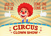 Circus Clown Poster Invite Template Vector. Amusement Park Party. Carnival Festival Background. Illustration