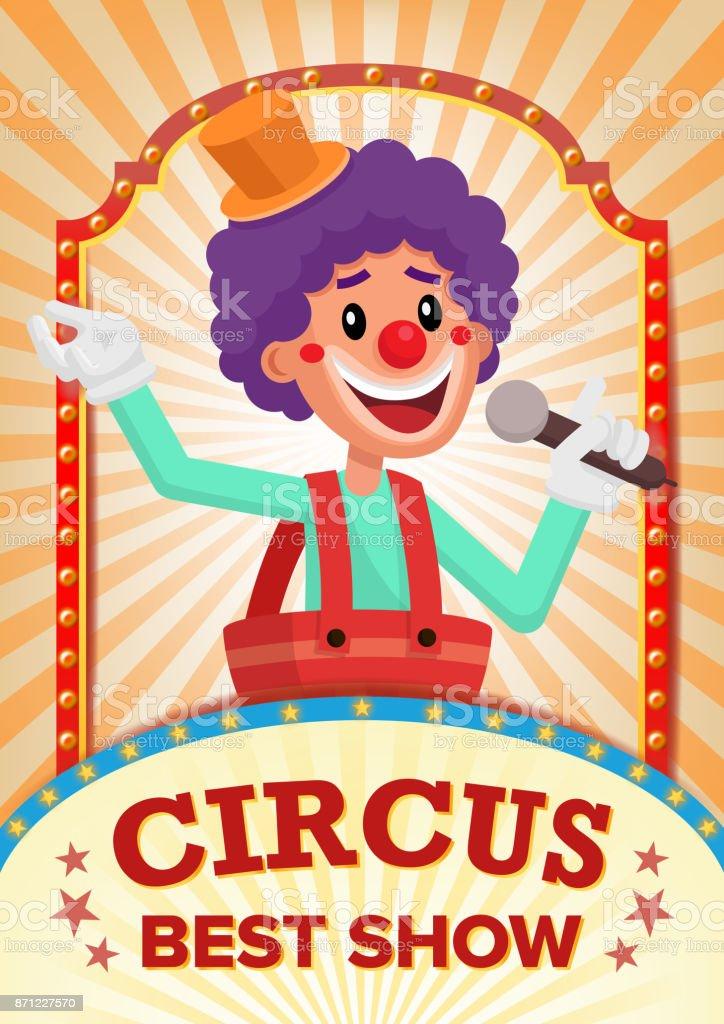 Circus Clown Show Poster Blank Vector Vintage Magic Fantastic Performance Holidays