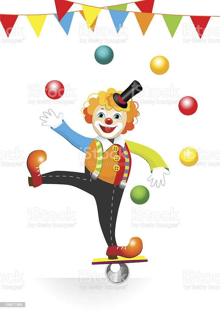 circus clown with flags and balls royalty-free stock vector art