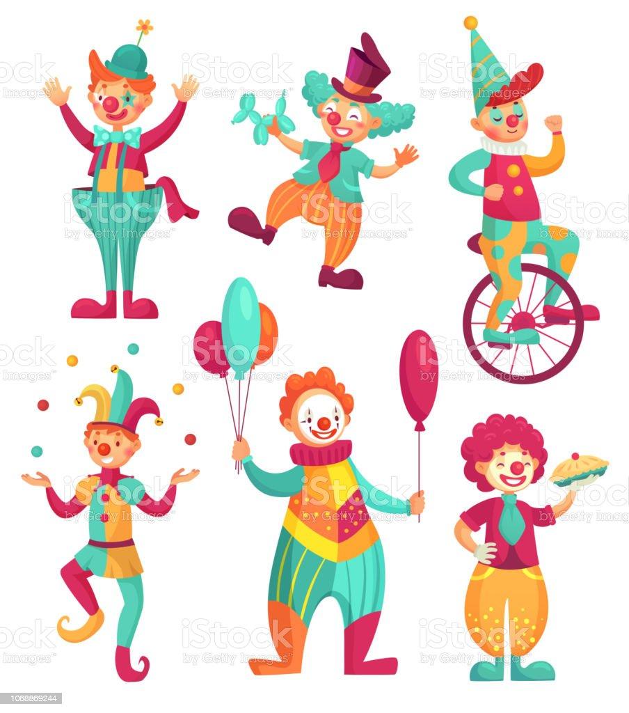 Clowns De Cirque Clown Comedien Jongleur Funny Clowns Nez Ou
