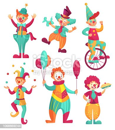 Circus clowns. Cartoon clown comedian juggling, funny clowns nose or jester party circus costume with balloon and happy laughing clowns face. Vector illustration isolated icons set