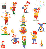 Circus Clowns Cute Funny Different Positions and Actions Character Icons