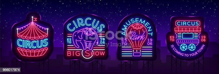 Circus collection of neon signs. Set of s for circus in neon style, circus symbol, neon banner, bright nightly advertisement of circus show, magic show. Design template. Vector. Billboard.