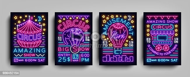 Circus collection of posters design templates neon style. Circus set of neon signs, tent, elephant, amusement park, light banner, neon flyer, advertising of Circus performances. Vector illustration.