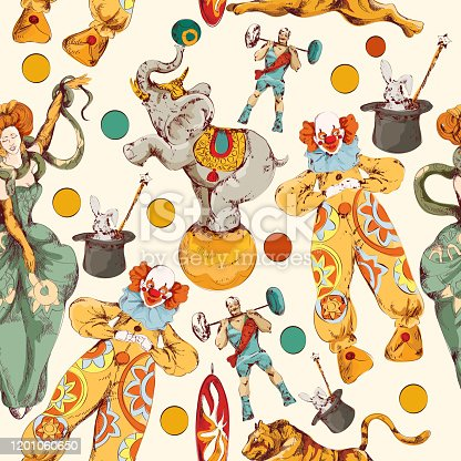 Decorative vintage circus with clown magical wand trick seamless wrap paper pattern color doodle sketch vector illustration