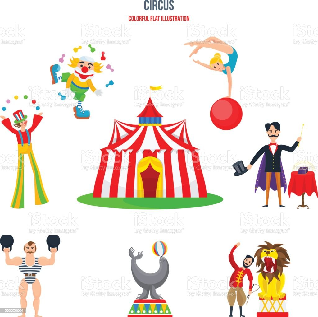 Notion de cirque - spectacles, clowns, jongleurs, strongman, acrobates, magicien, dompteur - Illustration vectorielle