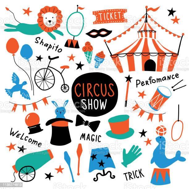Circus cute symbols set shapito show with tent animals acrobat and vector id1135274813?b=1&k=6&m=1135274813&s=612x612&h=ryujylepinxrdknquyiapzmmwcuk2loqkchadfr5wyq=