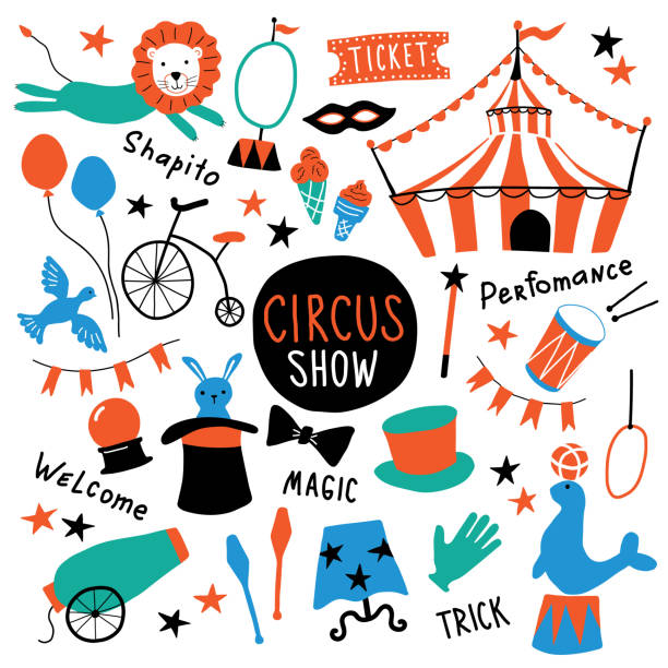 Circus cute symbols set. Shapito show with tent, animals, acrobat and magician equipment, performance elements. Funny doodle hand drawn cartoon vector illustration. Isolated on white. Circus cute symbols set. Shapito show with tent, animals, acrobat and magician equipment, performance elements. Funny doodle hand drawn cartoon vector illustration. Isolated on white. stunt stock illustrations