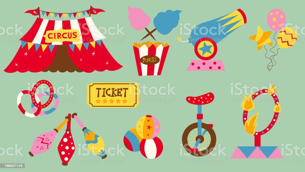 Circus elements vector art illustration