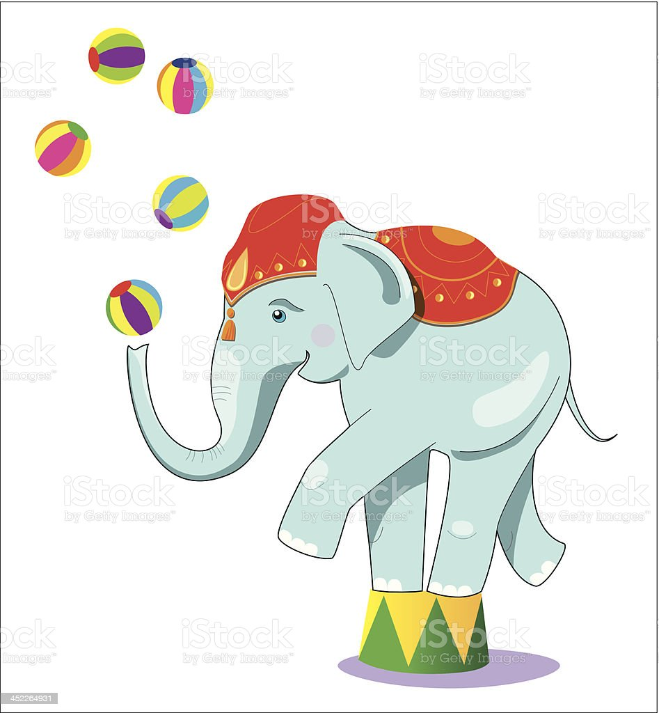 Circus elephant as acrobat royalty-free stock vector art