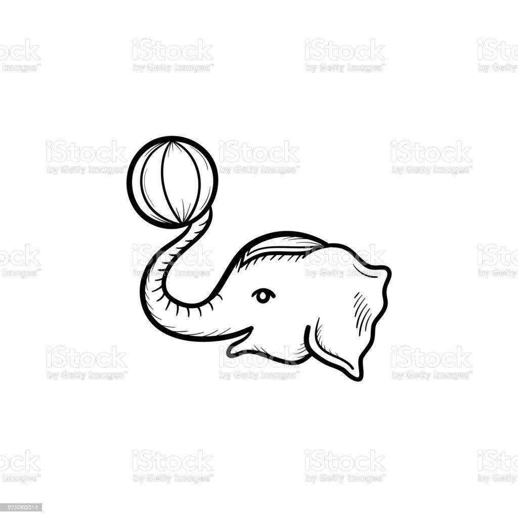 Circus elephant hand drawn sketch icon