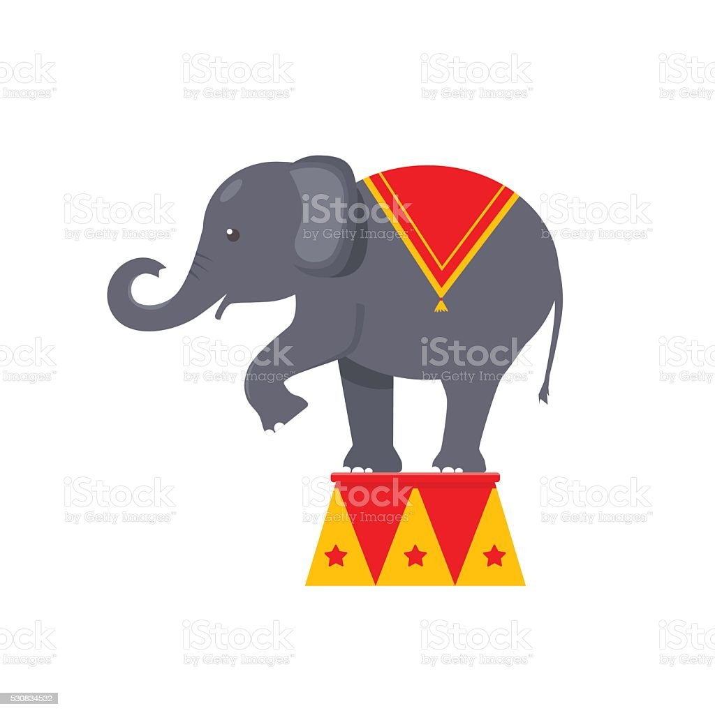 Circus elephant icon vector art illustration