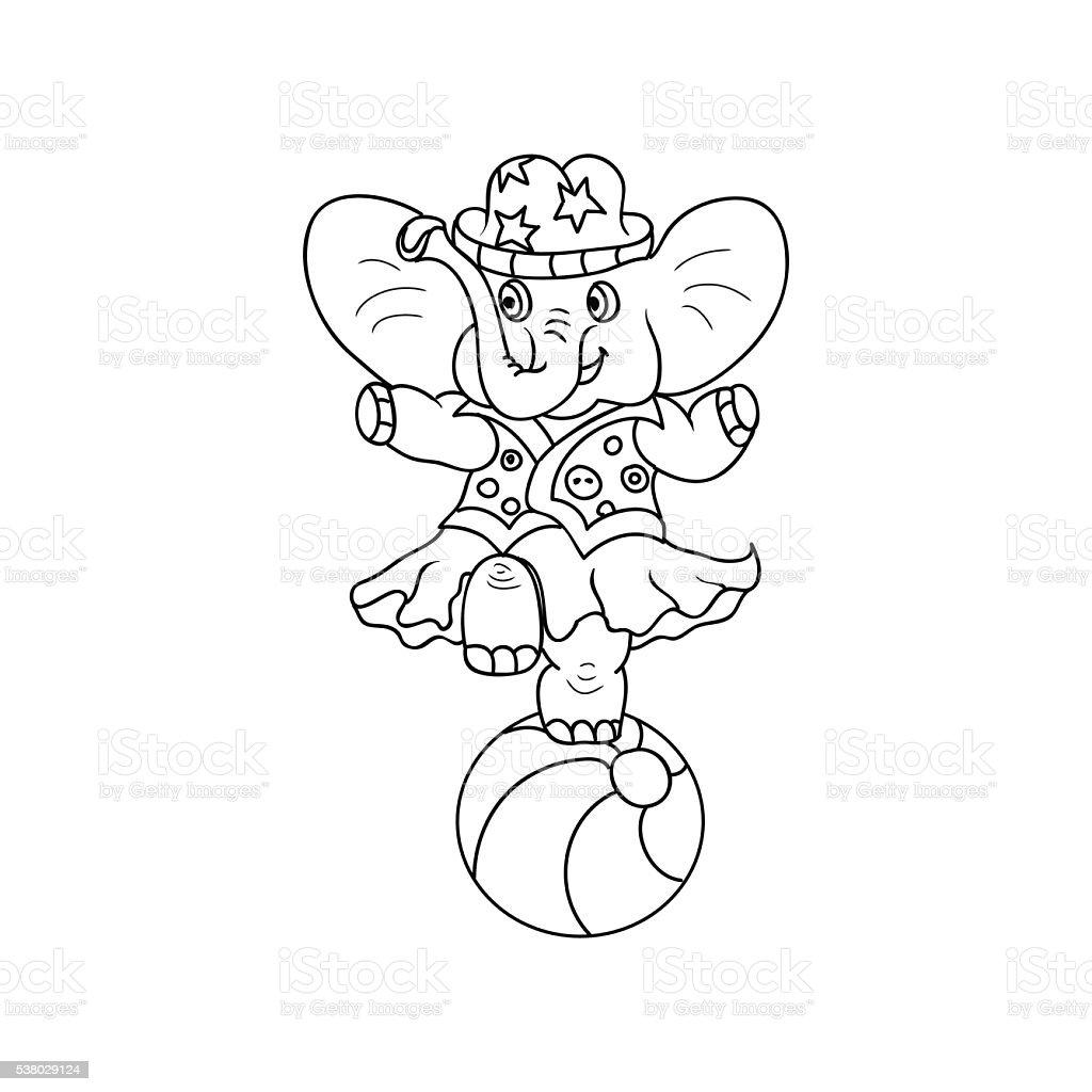 Ilustración de Circo Elefante Los Niños Para Colorear Página y más ...