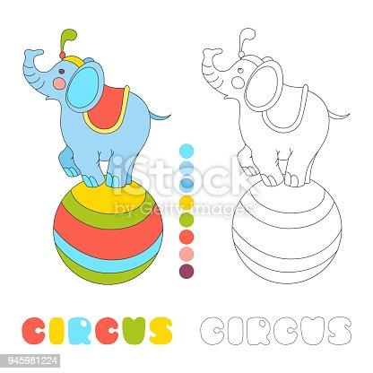 Kleurplaten Circusartiesten.Circus Olifant Op De Ivector Van De Grote Bal Fotoboekpagina