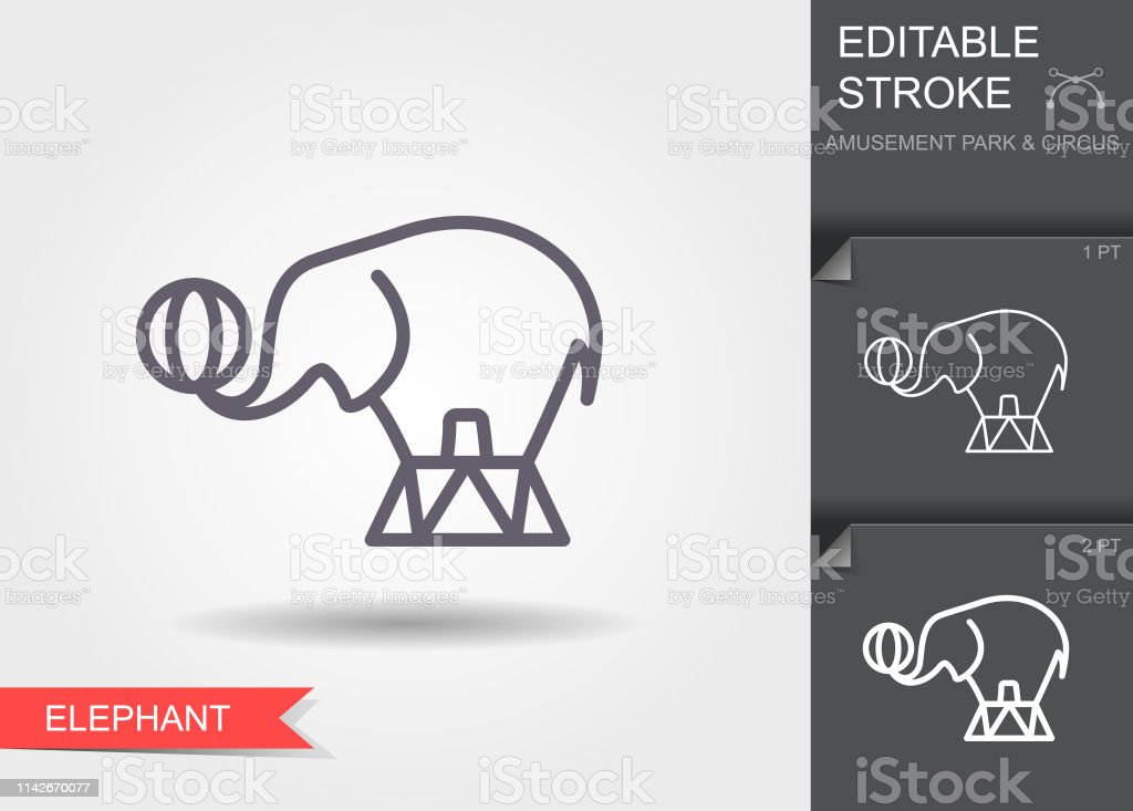 Circus Elephant Outline Icon With Editable Stroke Linear Symbol