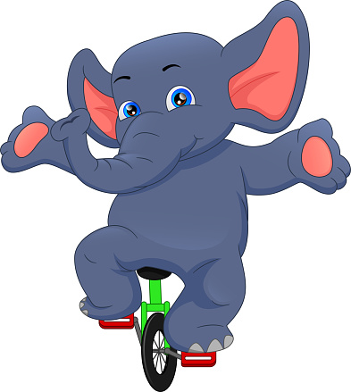 circus elephant riding a bicycle