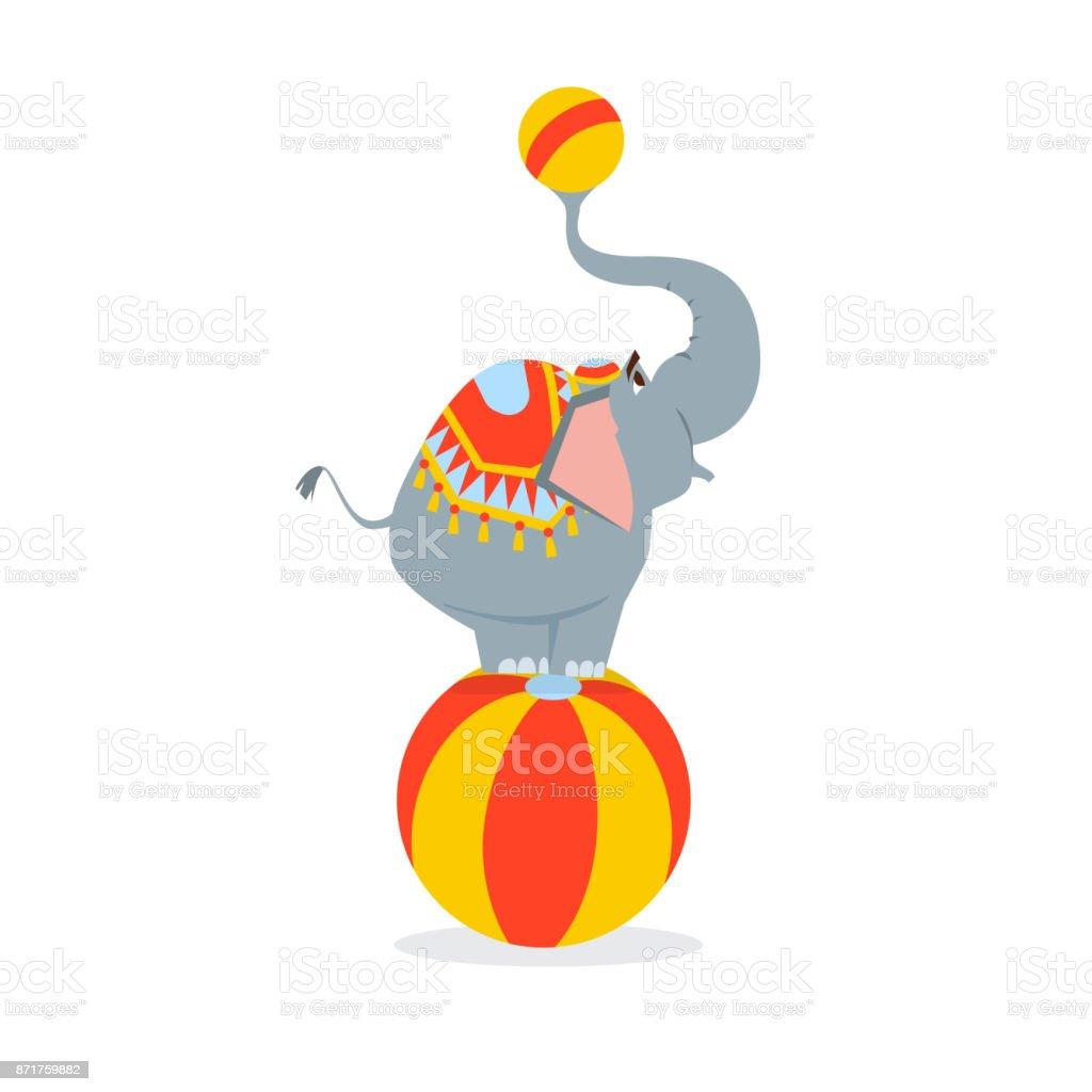 Ilustración de Elefante De Circo Se Alza Sobre Una Pelota Grande Y ...
