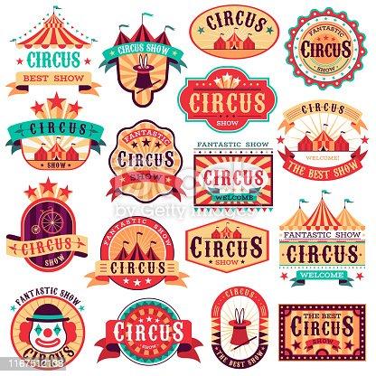 Circus emblems. Carnival festival, fun circus show retro paper signboard invitational banners event frames arrow stickers. Vector logo magic attractions set