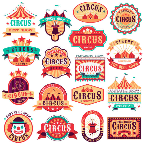 Circus emblems. Carnival festival, fun circus show retro paper signboard invitational banners event frames arrow stickers. Vector set Circus emblems. Carnival festival, fun circus show retro paper signboard invitational banners event frames arrow stickers. Vector logo magic attractions set invitational stock illustrations