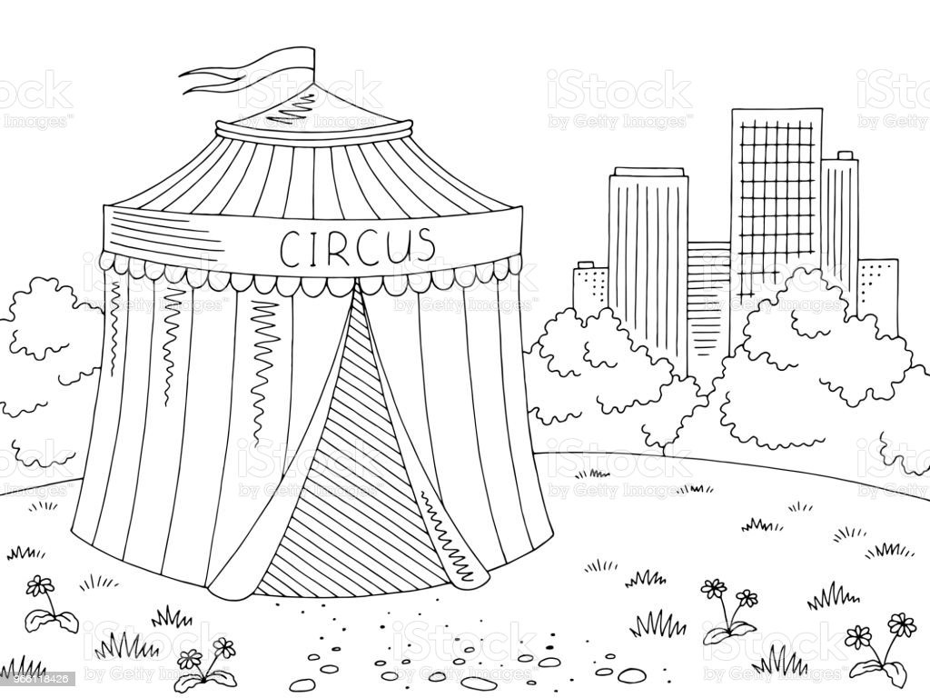 Circus exterior graphic black white city landscape sketch illustration vector - Royalty-free Arts Culture and Entertainment stock vector