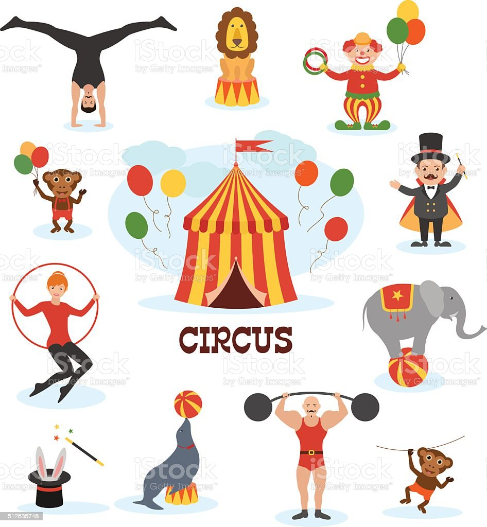Circus flat design collection vector art illustration