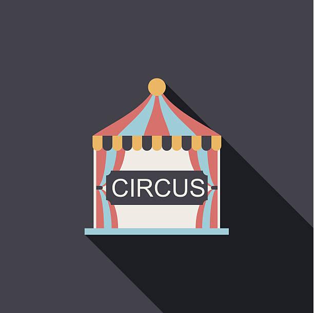illustrazioni stock, clip art, cartoni animati e icone di tendenza di circus piatto icona con lunga ombra - funfair entrance