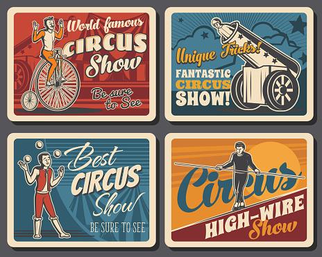 Circus funfair carnival show, retro vector