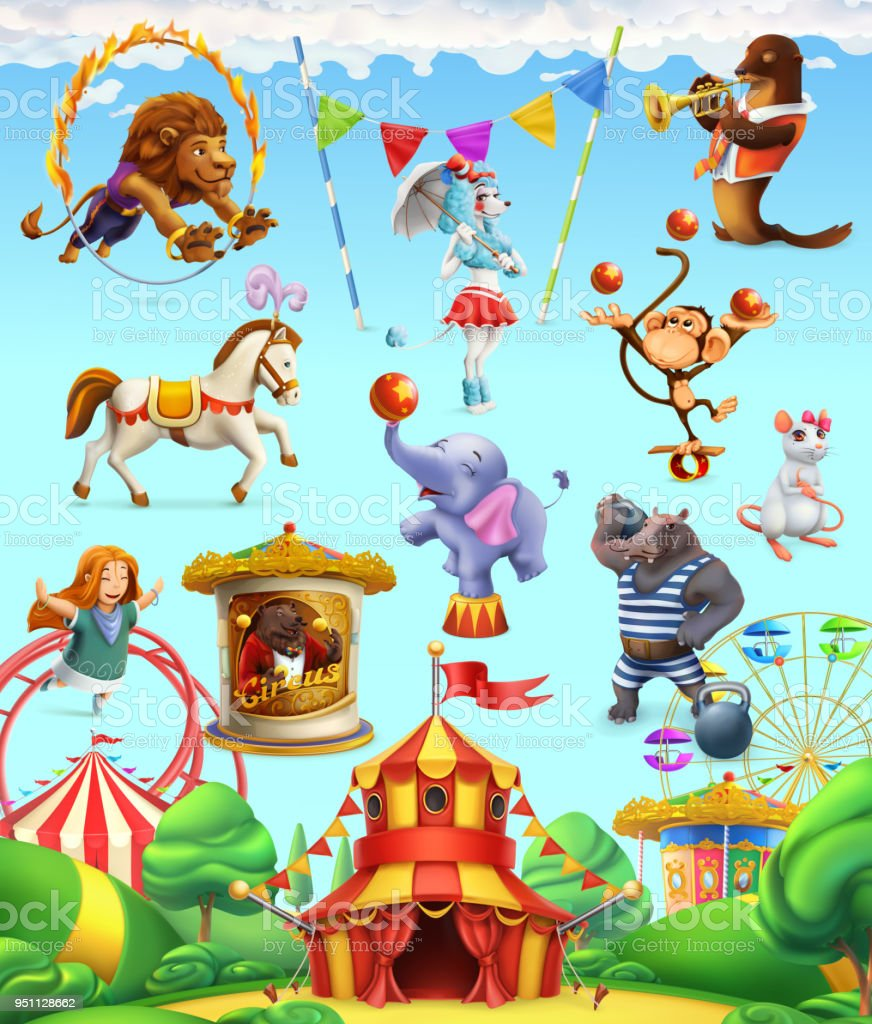 Circus funny animals, set of vector icons. 3d vector icon set
