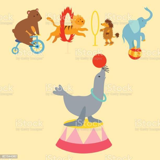Circus funny animals set of vector icons cheerful zoo entertainment vector id827544082?b=1&k=6&m=827544082&s=612x612&h=okm k8uc tcx hrf22c9suk6gsgdiyzsccxcyq8k7ii=