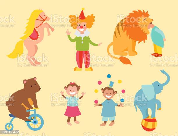 Circus funny animals set of vector icons cheerful zoo entertainment vector id856086472?b=1&k=6&m=856086472&s=612x612&h=0mbbcsjsbtzbt0q4nyd6zm13dmnldrpg0o brt moou=