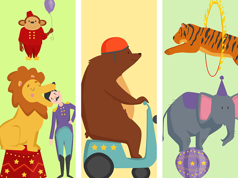 Circus funny animals vector cheerful cards design zoo entertainment magician performer carnival illustration