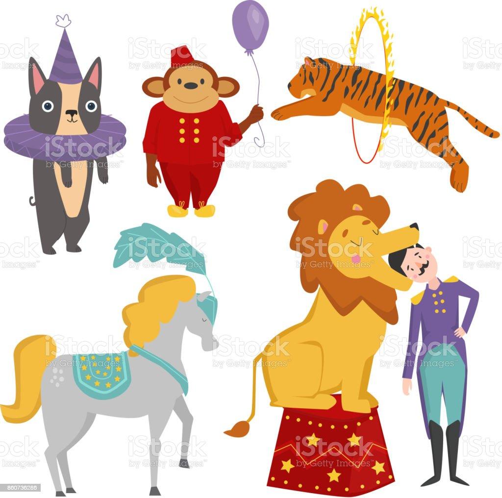 サーカスの面白い動物ベクトル陽気な動物園エンターテイメント魔術師