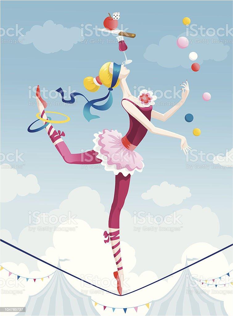 Circus girl向量藝術插圖