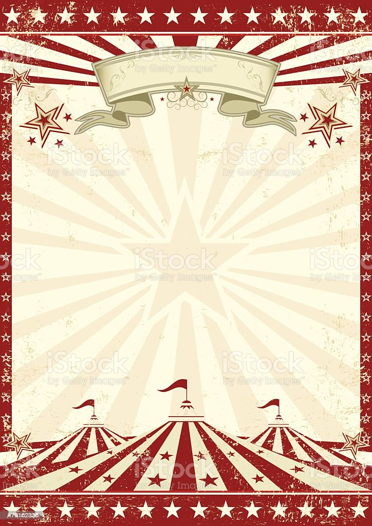 Circus grunge red poster vector art illustration
