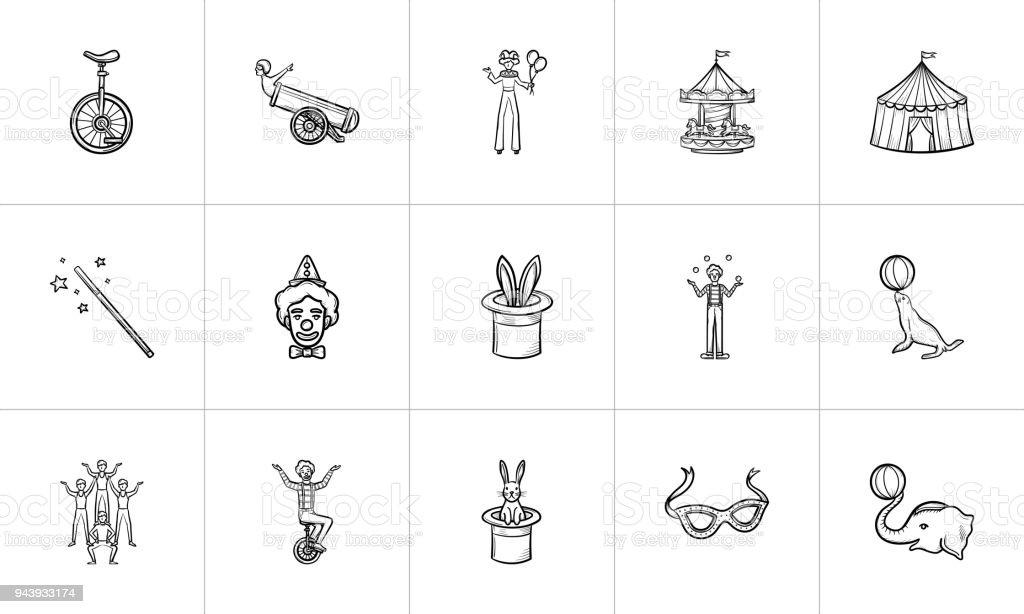 Circus hand drawn sketch icon set vector art illustration