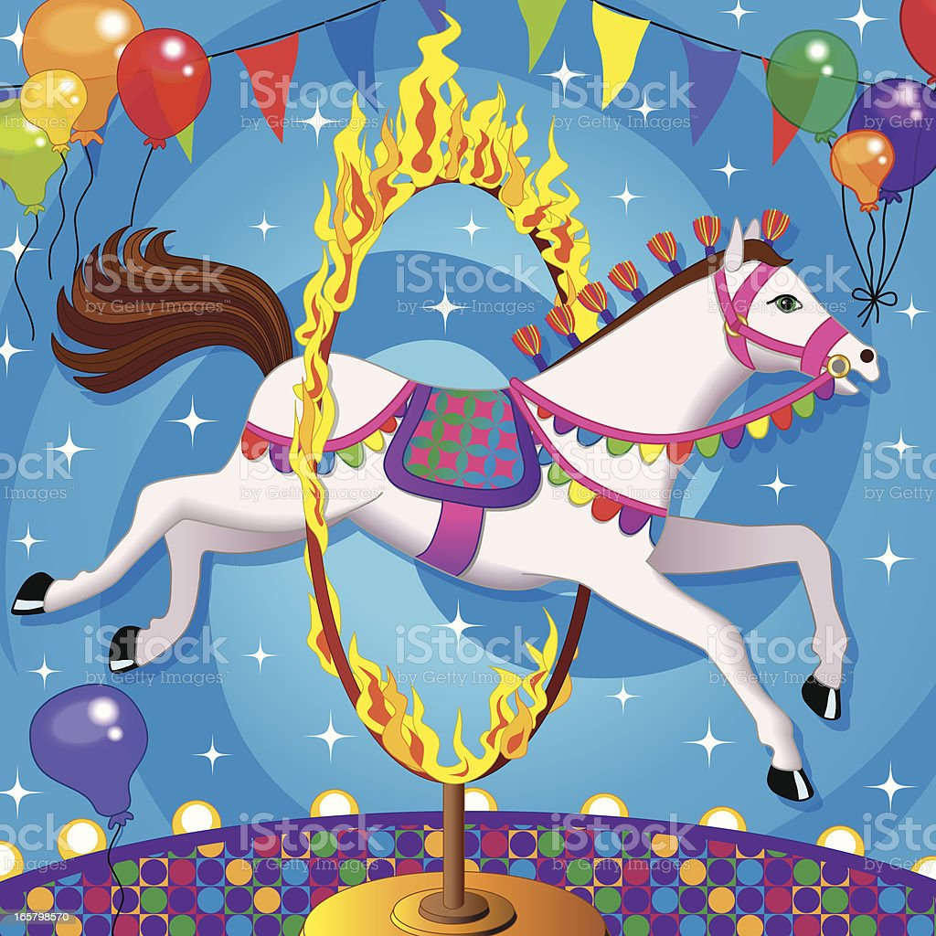 circus horse jumping through ring of fire vector art illustration