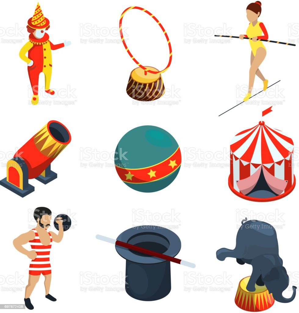 Circus icon set. People, animals, magician show clowns and other vector illustration in cartoon style vector art illustration