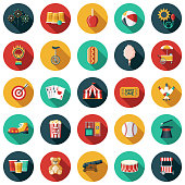 A set of circus icons. File is built in the CMYK color space for optimal printing. Color swatches are global so it's easy to edit and change the colors.