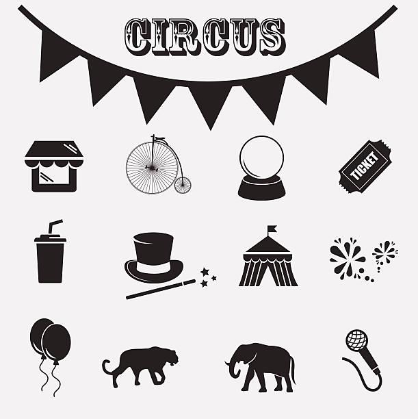 illustrazioni stock, clip art, cartoni animati e icone di tendenza di circus icona set. - funfair entrance