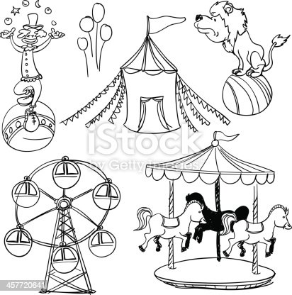 Sketch drawing of circus elements in black and white.