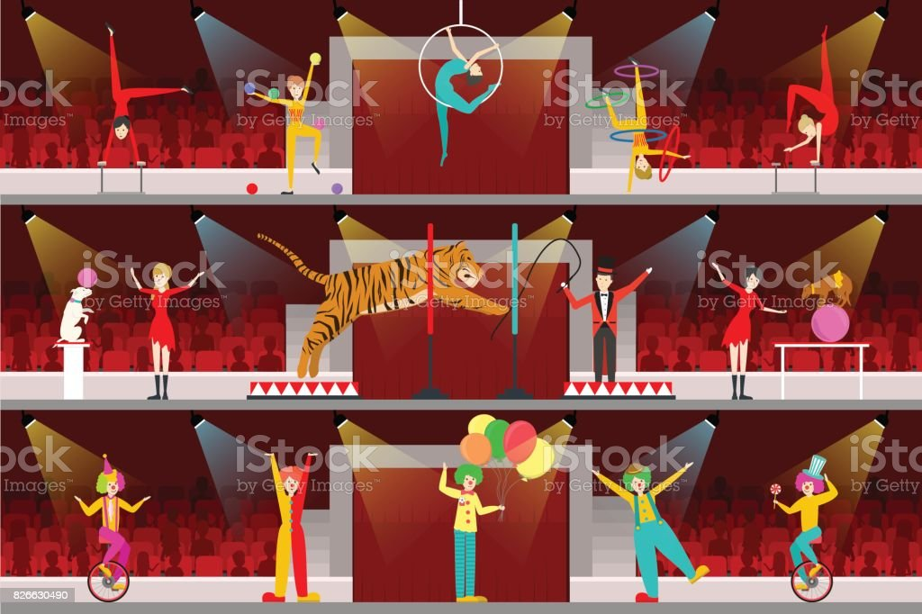 Circus interior set. vector art illustration