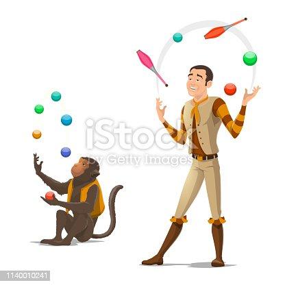 istock Circus juggler and monkey juggling balls 1140010241