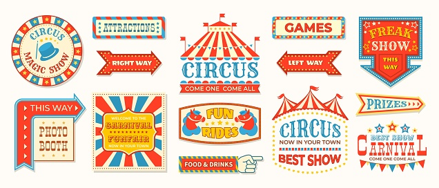 Circus labels. Carnival retro banner signs, vintage magic frames and arrows elements, welcome the show greetings. Vector circus signs
