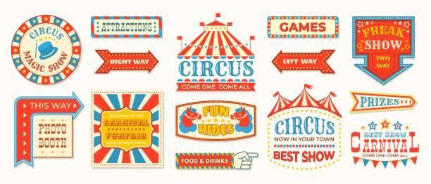 illustrations, cliparts, dessins animés et icônes de étiquettes de cirque. carnaval rétro bannière signes, cadres magiques vintage et des éléments de flèches, bienvenue les salutations de spectacle. signes de cirque de vecteur - carnaval
