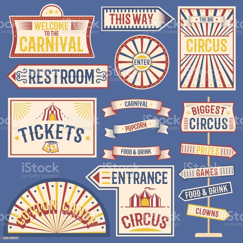 サーカス ラベル カーニバルはパーティのテーマにサーカス デザインの